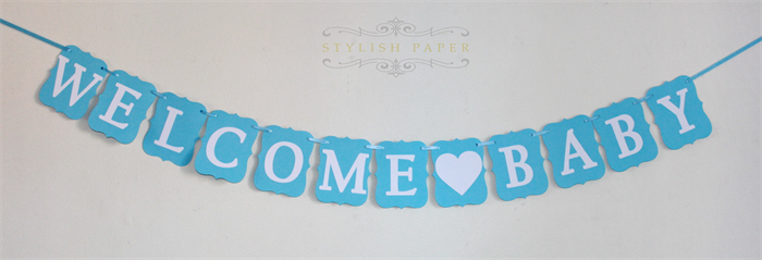 welcome baby banner blue and white banner baby boy baby shower