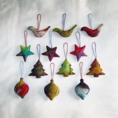 12 Felted Christmas Decoration 3 baubles 3 trees 3 stars 3 birds