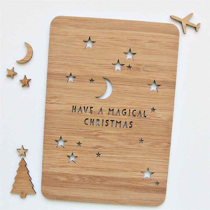 Magical christmas card laser cut bamboo wood moon stars