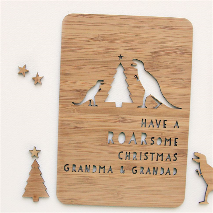 Custom dino christmas card laser cut bamboo wood roarsome