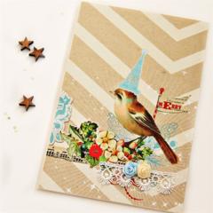 Vintage Christmas card | Celebration Bird | Ribbon Roses Lace