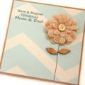 Custom Christmas card natural burlap bloom with kraft brown chevron print