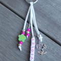 GIRLS PERSONALISED NAME BAG TAG / KEYRING