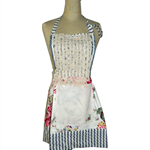 Retro style Adult Apron made from recycled and re-purposed fabrics and items