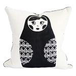 Babushka Doll Screen Print Cushion in Charcoal – kids throw pillow, black