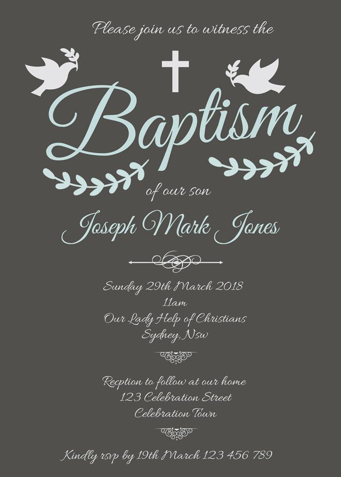 Personalised Cross Dove Christening Baptism Day Boys Invitations