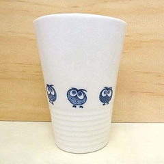 Ceramic coffee cup. Porcelain mug with owls.