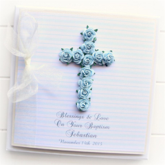 Cross Personalised card custom boxed baby boy blue Christening Baptism Communion