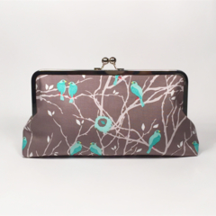 Cottage birds in gray large clutch purse
