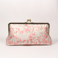 Dried flowers in pink large clutch purse
