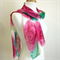 Hand Painted Floral Silk Scarf - Pink Rose