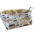 XLarge Fabric Nappy Caddy - Storage Organiser Bin Basket - Indian Summer