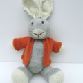 Charlie the Hand Knitted Big Eared Knitted Bunny with an Orange Jacket