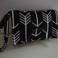 Black with White Arrow  Nappy Wallet fits all wipes