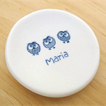 Ring dish with owls and personalised engraved name. Porcelain, ceramics