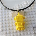 ROBOTS RULE - cool robot pendant handmade in yellow