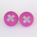 Buy 3 Get 4th Free! Pink and Silver Cross Fabric Earrings
