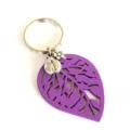 Purple Leaf, Ladybird and Flower Keyring