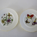 Hand painted pair of Wedgwood plates with abstract flowers & butterflies
