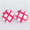 Buy 3 Get 1 Free! Pink & White Square Fabric Button Stud Earrings