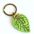 Green Leaf, Bird & Heart Keyring