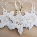 Christmas decorations, ornaments. Gold snowflakes. Ceramic. Teachers gift.