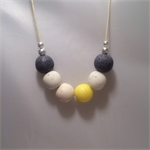 Yellow, White & Granite Polymer Clay Necklace