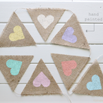 Pastel Hessian Burlap Bunting Rustic Hearts Wedding Baby Shower Decoration