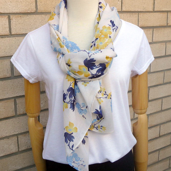 a7d0701a006 Light Spring Floral Scarf :: Blue :: Navy :: Yellow :: Cream ...