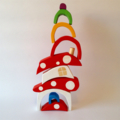 Hand painted Wooden BRIGHT Toadstool House stacker with Rainbow door.