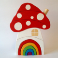 Handmade Wooden BRIGHT Toadstool House with Rainbow door. (10 Piece)