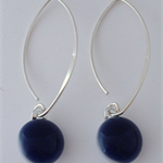 Navy Blue Sterling Silver Fused Glass Drop Earrings