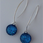 Blue Crackle Sterling Silver Fused Glass Drop Earrings