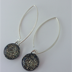 Salmon Crackle Sterling Silver Fused Glass Drop Earrings