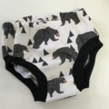Bear and Triangles Nappy Cover with ribbed legs New Design Perfect Coverage