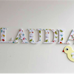 Wooden 6cm Names. Wall or Door Letters. 7 letters and Motif