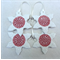 Christmas decorations, ornaments. Red & white ceramic snowflakes Teachers gift.