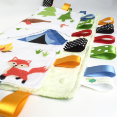 *FREE POST* ~ NATURE CAMPING Baby Security BlankieTaggie Toy + Free Taggie Saver