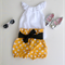 Mustard Yellow Spotty High Waisted Bloomers with black and gold sash bow