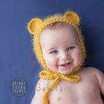Baby Bear Bonnet  / Size 3-6 Months / Mustard / Cheeky Monkey Hat