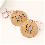 12 Eat Drink me tags bamboo word tags thank you Christmas food gift