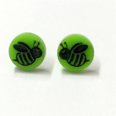 Bumble Bee Laser Cut Earrings - acrylic, perspex, plastic, stud, retro, green