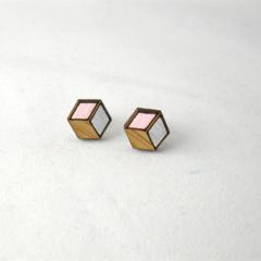 Hexagon Wood Stud Earrings