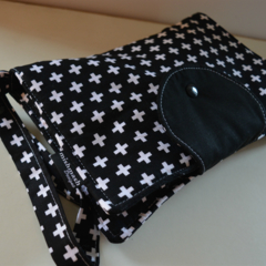 Black with White Crosses Nappy Wallet fits all wipes
