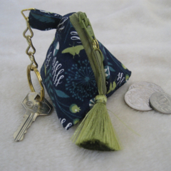 Coin Purse - Pyramid, Navy with Nature Print