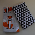 Reversibe Fox and Hound /Triangles Baby Carrier Drool Pads - Fits most carriers