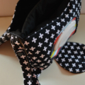 Black with White Crosses Nappy Wallet fits all wipes With zippered pocket