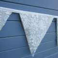 Lace Fabric Bunting - Cream Wedding or Party decoration