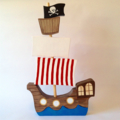 Handmade, Handpainted  Wooden Pirate Ship. (6 Piece)