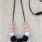 NEW - Silicone Necklace- Rose in Black Hexagon & Peach